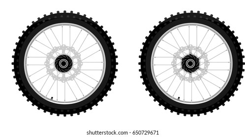 Classic motocross motorcycle front wheel with brake rotor right and left side view graffiti style isolated on white vector illustration