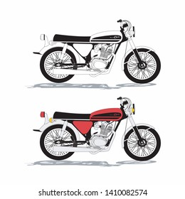 classic motorcycle with 3D vector style display