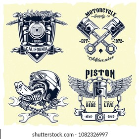 Classic Motorcycle Emblems, Badges, Logos on Light Background Vector Set