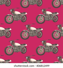 Classic motorcycle. Seamless pattern with retro motorbike. Bike vintage. Vector illustration