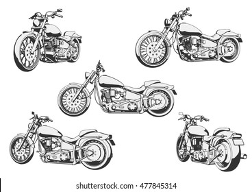 classic motorcycle. vintage motorcycle. vector illustration.