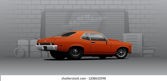 Classic muscle car on huge slicks for drag racing. Vector illustration.