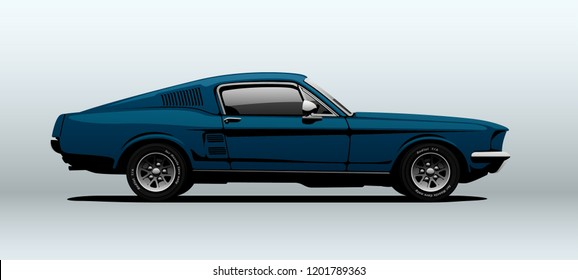 Classic muscle car in vector. Side view with perspective.