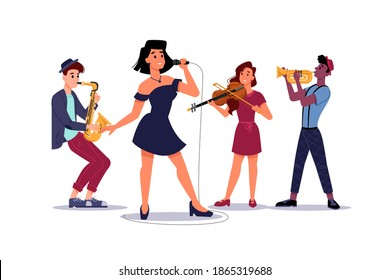 Classic music band, woman singer soloist, saxophone and trumpet players, isolated musical group. Vector concert or performance with musicians, sexy woman singer and violinist plays on violin
