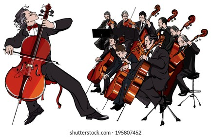 Classic music classical orchestra - vector illustration