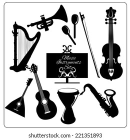 Classic musical orchestral instruments black icons set of guitar violin trumpet harp sketch vector abstract isolated illustration