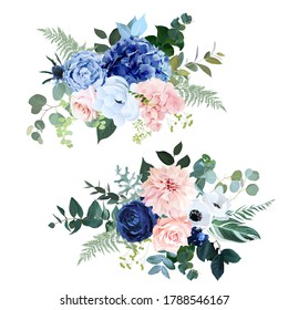 Classic navy blue, blush pink rose, hydrangea, ranunculus, dahlia, white anemone, thistle flowers, fern, greenery and eucalyptus wedding vector bouquets.Trendy color collection. Isolated and editable