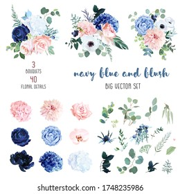 Classic navy blue, white, blush pink rose, hydrangea, ranunculus, orchid, dahlia, anemone, peony, thistle flowers, greenery and eucalyptus big vector set.Trendy color collection. Isolated and editable