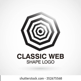 Classic octagonal of line borders abstract vector and logo design or template geometry business icon of company identity symbol concept