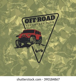 Classic off-road suv car emblem with green camouflage background.