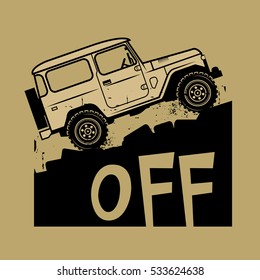 Classic off-road suv car sign or symbol, vector illustration