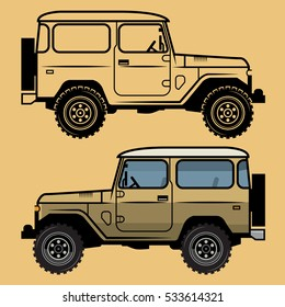 Classic off-road suv car, vector illustration