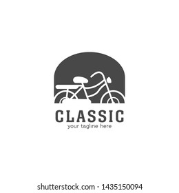 Classic old bicycle logo silhouette, historical vintage retro bicycle inside window frame in vector design icon logo