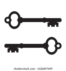 Classic old door key black color. Old vintage door key vector eps10. Key icon isolated on white.