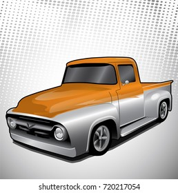Classic Old Style Truck - Orange and Silver