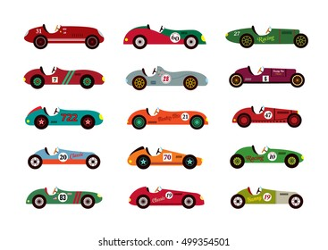 classic old vintage race car vector illustration collection