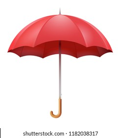 Classic open red umbrella isolated on white background. Vector illustration.