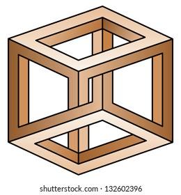 Classic optical illusion. Impossible geometrical figure