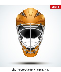 Classic orange Goalkeeper Ice and Field Hockey Helmet isolated on Background. Sport Equipment. Editable Vector illustration isolated on white background.
