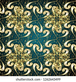 Classic oriental pattern over blue and beige colors. Traditional vector and golden pattern. Damask seamless ornament.