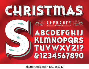 A classic original Victorian or vintage style alphabet in Christmas colors. This font has a retro greeting card vibe.