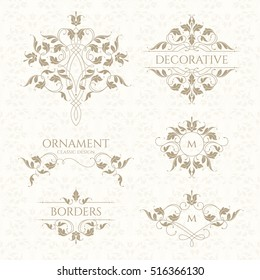Classic ornament. Set of decorative  borders and monograms. Template signage, logos, labels, stickers, cards. Graphic design page. Classic design elements for wedding invitations.