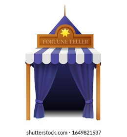 classic outdoor fortune teller tent with purple curtain isolated on white background. 3d realistic vector illustration