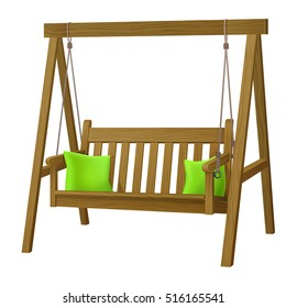 classic outdoor garden wooden hanging on frame porch swing bench furniture with ropes and two green pillows isolated on white background. vector illustration