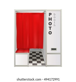 classic outdoor white photo booth with red curtain isolated on white background. vector illustration
