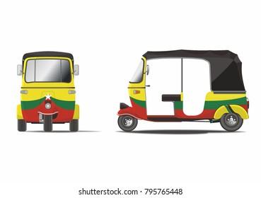 Classic painted Myanmar rickshaw vector