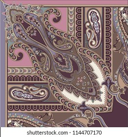 Classic paisley elements for textile design, scarves and fabrics