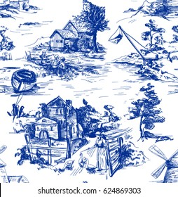 Classic Pattern with Old town,village; scenes of fishing in Toile de jouy style in white and blue color