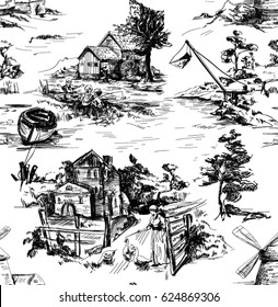 Classic Pattern with Old town,village; scenes of fishing in Toile de jouy style in white and black color