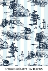 Classic Pattern with Old town,village; scenes countryside life in Toile de jouy style in blue and white color, landscapes on background with stripes.