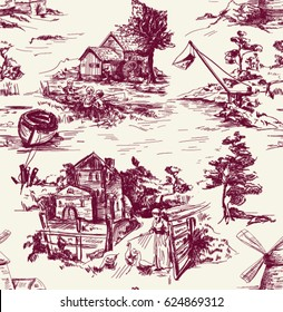 Classic Pattern with Old town,village; scenes of fishing and countryside life in Toile de jouy style in beige and redk color