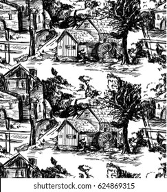 Classic Pattern with Old town,village; scenes countryside life in Toile de jouy style ,landscapes in black and white color