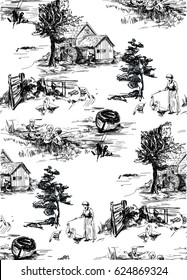 Classic Pattern with Old town,village; scenes countryside life in Toile de jouy style in beige and red color,landscapes