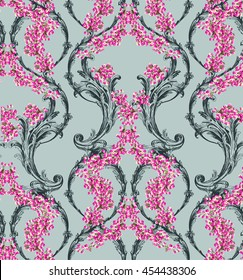 Classic pattern with scrolls and small bright flowers in baroque style on grey background