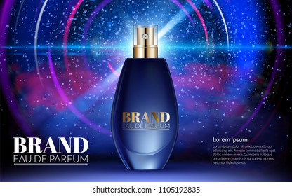 Classic Perfume Contained in Glass Bottle Poster Ads Mock up Blue Blur Shine Glowing Line Black Background. Excellent Advertising. Realistic Cosmetic Package Design Product. 3D Vector Illustration