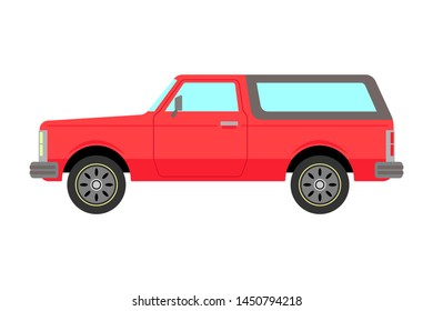Classic pickup. Old red SUV. Side view. Vector drawing. Isolated object on white background. Isolate.