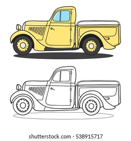 Classic pickup truck. Doodle styled vector illustration.Check my portfolio for many more images of this series.
