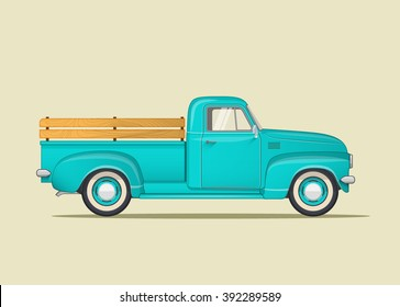 Classic pickup truck. Flat styled vector illustration.