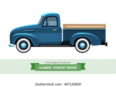 Classic pickup truck side view. Stake truck vector isolated illustration