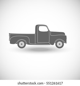 Classic Pickup Truck Vector Illustration Retro Car