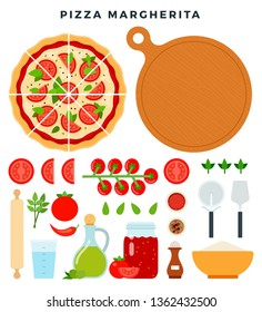 Classic pizza Margherita and all ingredients for cooking it. Make your pizza. Set of products and tools for pizza making. Everything for dough, filling and sauce. Vector illustration in flat style.