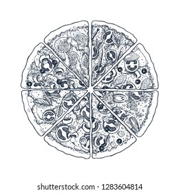 Classic pizza vintage illustration. Engaved style. Vector illustration