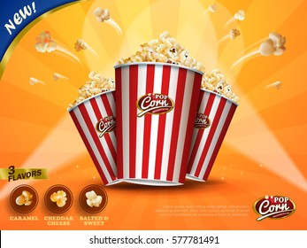 Classic popcorn ads, delicious popcorn flying out of cardboard box isolated on yellow striped background in 3d illustration, three flavors for choose