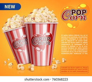 Classic popcorn movie theater snacks vector promotional background. Pop corn for cinema, bucket with popcorn illustration
