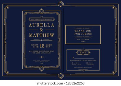 Classic Premium Vintage Style Art Deco Engagement / Wedding Invitation with gold color with frame. Include Thank you Tags and RSVP. Vector Illustration