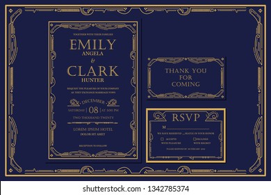 Classic Premium Vintage Style Art Deco Engagement / Wedding Invitation Navy with gold color with frame. Include Thank you Tags and RSVP. Vector Illustration - Vector